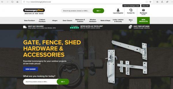 Pic of the Ironmongery Direct website
